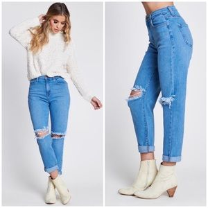 High Rise Busted Ripped Knee Mom Boyfriend Jeans
